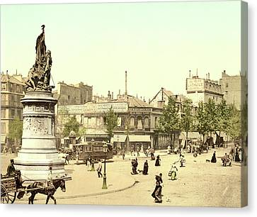 Place Clichy In Paris Canvas Print by French School