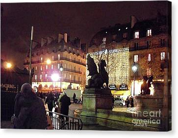 Canvas Print featuring the photograph Place Saint-michel by Felipe Adan Lerma