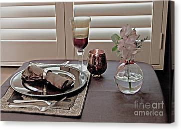 Place Setting For One Canvas Print by Sherry Hallemeier