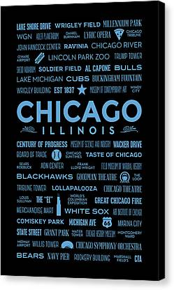 Canvas Print featuring the digital art Places Of Chicago Blue On Black by Christopher Arndt