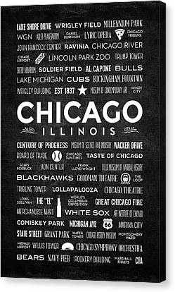 Canvas Print featuring the digital art Places Of Chicago On Black Chalkboard by Christopher Arndt