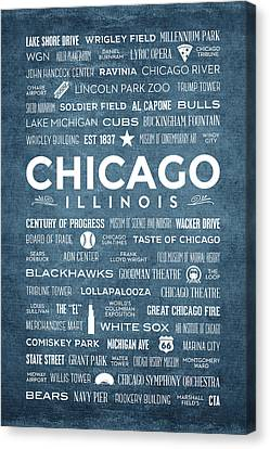 Canvas Print featuring the digital art Places Of Chicago On Blue Chalkboard by Christopher Arndt