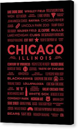 Canvas Print featuring the digital art Places Of Chicago On Red On Black by Christopher Arndt