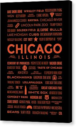 Canvas Print featuring the digital art Places Of Chicago Orange On Black by Christopher Arndt