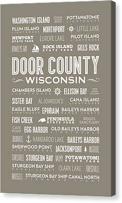 Canvas Print featuring the digital art Places Of Door County On Brown by Christopher Arndt