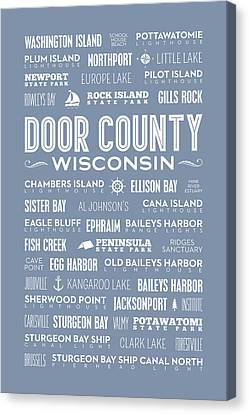 Canvas Print featuring the digital art Places Of Door County On Light Blue by Christopher Arndt