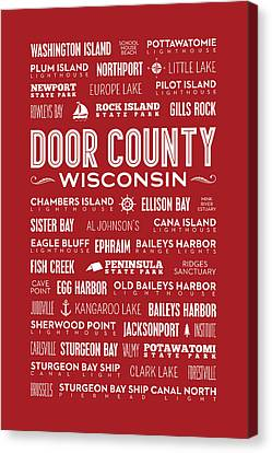Places Of Door County On Red Canvas Print by Christopher Arndt
