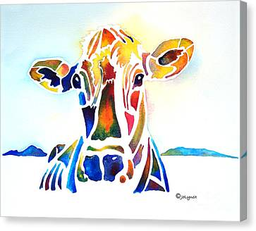 Placid The Cow Canvas Print by Jo Lynch