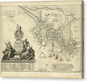 plan of Boston in New England 1728 Canvas Print