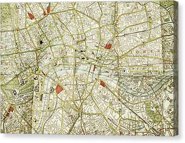 Canvas Print featuring the photograph Plan Of Central London by Patricia Hofmeester