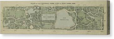 Canvas Print featuring the photograph Plan Of Central Park City Of New York 1860 by Duncan Pearson