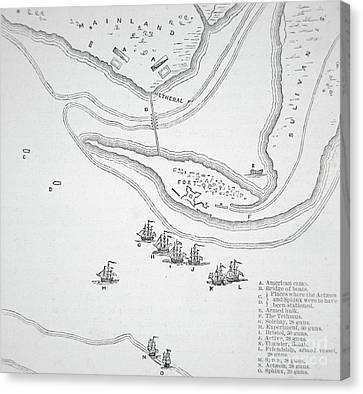 Sullivan Canvas Print - Plan Of The Attack On Sullivan's Island, 1776 by American School