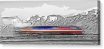 Plane At Airport 1 - Signed Limited Edition Canvas Print by Steve Ohlsen