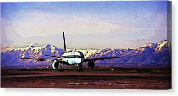 Plane At Airport 3 Canvas Print by Steve Ohlsen