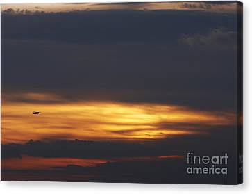 Plane At The Sunset Canvas Print