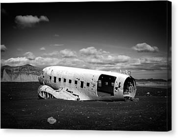 Plane Wreck In Iceland Black And White Canvas Print by Matthias Hauser