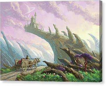 Canvas Print featuring the painting Planet Castle On Arch by Martin Davey