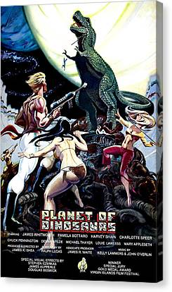 Horror Fantasy Movies Canvas Print - Planet Of Dinosaurs, 1-sheet Poster by Everett