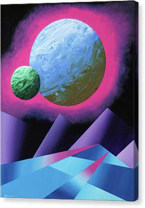 Planet X Abstract Landscape Painting Canvas Print by Mark Webster