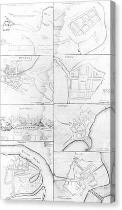 Plans Of The Principle Towers, Forts And Harbors In Ireland  Canvas Print by English School