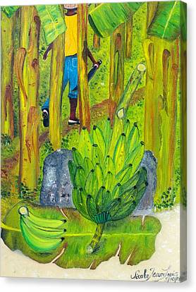 Canvas Print featuring the painting Plantain Farmer's Pride by Nicole Jean-louis