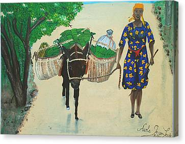 Canvas Print featuring the painting Plantain Merchant Woman by Nicole Jean-Louis