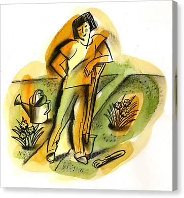 Planting Canvas Print by Leon Zernitsky
