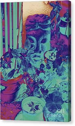 Shower Head Canvas Print - Plants With Buddha Head by Jane Gatward