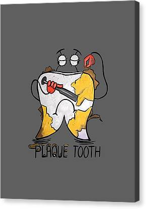 Plaque Tooth T-shirt Canvas Print by Anthony Falbo