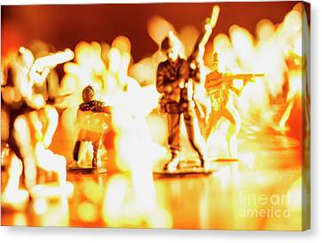 Canvas Print featuring the photograph Plastic Army Men 1 by Micah May