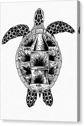 Canvas Print - Soda Turtle Sea Turtle Made Of Plastic Concept Drawing From The Feral Plastic Series by Adam Long