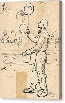 Plate Juggler Canvas Print by H James Hoff