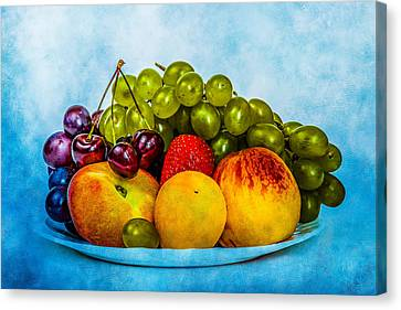 Canvas Print featuring the photograph Plate Of Fresh Fruits by Alexander Senin
