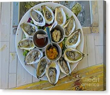 Plate Of Oysters Canvas Print by John Malone