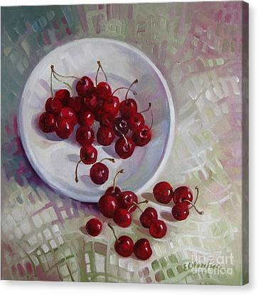 Plate With Cherries Canvas Print