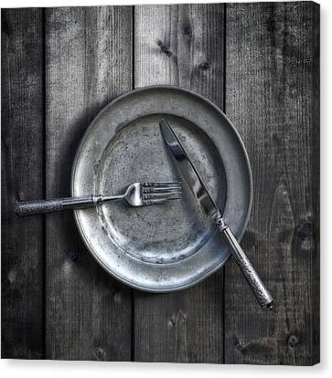 Plate With Silverware Canvas Print by Joana Kruse