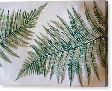 Platter With Ferns Canvas Print by Polly Castor