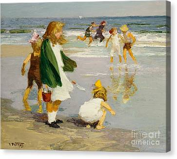 Play In The Surf Canvas Print by Edward Henry Potthast