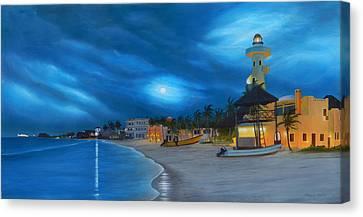 Playa De Noche Canvas Print by Angel Ortiz