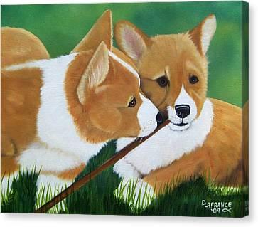 Playful Corgis Canvas Print by Debbie LaFrance