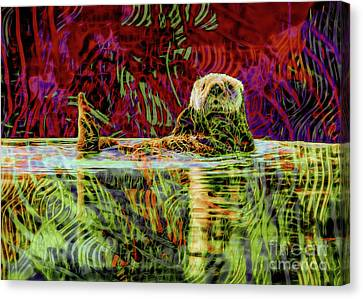 Playful Sea Otter Canvas Print by Laura L Leatherwood