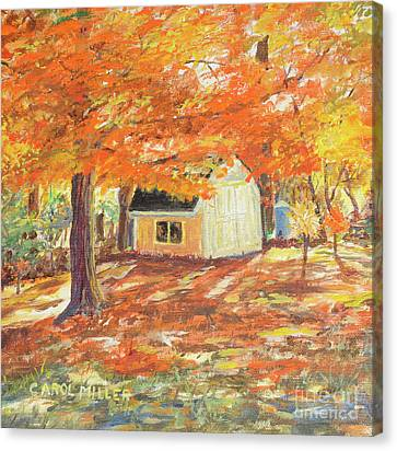 Canvas Print featuring the painting Playhouse In Autumn by Carol L Miller
