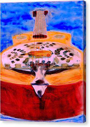 Canvas Print featuring the painting Playin The Blues by FeatherStone Studio Julie A Miller