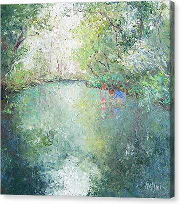 Impressionist Landscape Canvas Print - Playing At The Creek by Jan Matson