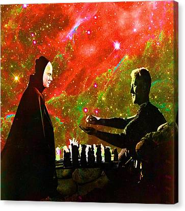 Playing Chess With Death Canvas Print by Matthew Lacey