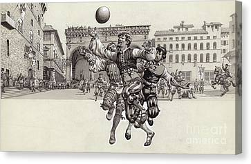 Playing Football In Florence  Canvas Print