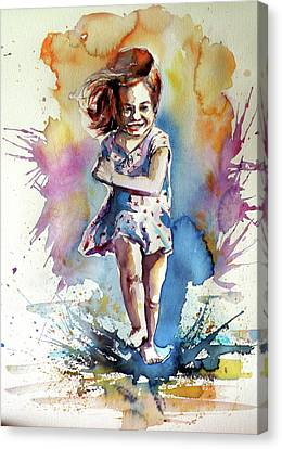 Canvas Print featuring the painting Playing Girl by Kovacs Anna Brigitta