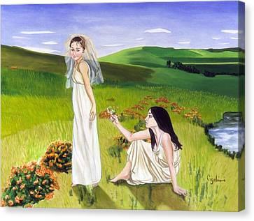 Playing Canvas Print by Gloria Cigolini-DePietro