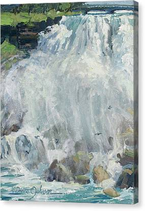 Playing In The Mist - Niagara Falls Canvas Print by L Diane Johnson