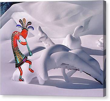 Playing In The Snow Canvas Print by Terril Heilman